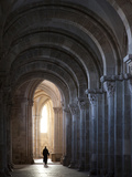 Interior North Nave Aisle with Priest Walking Away  Vezelay Abbey  UNESCO World Heritage Site  Veze