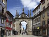 The Arco Da Porta Nova  Baroque Style City Gate  and Rua Diogo De Sousa  Braga  Minho  Portugal  Eu