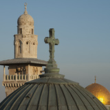 Ecce Homo Dome  Minaret and Dome of the Rock  Jerusalem  Israel  Middle East