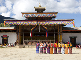 Local Women in National Dress Lined Up Ready to Dance During the Gangtey Tsechu at Gangte Goemba  G
