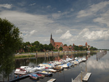 Boat Harbour on the Elbe River Below Walls of Historical Town of Tangermunde  Saxony-Anhalt  German