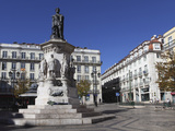 Largo De Camoes Square  with the Luiz De Camoes Memorial  at Bairro Alto  Lisbon  Portugal  Europe