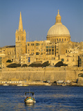 View at Sunset to Valletta with Dome of Carmelite Church  Valletta  Malta  Mediterranean  Europe