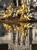 Fountain and Reflections in Pond at Linderhof Castle  Bavaria  Germany  Europe