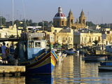 View across Harbour with Traditional Luzzu Fishing Boats  Marsaxlokk  Malta  Mediterranean  Europe