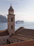 The Tower of Dominican Monastery with Cruise Ship  from Dubrovnik Old Town Walls  Dubrovnik  Croati