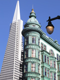 Trans America Building and Victorian Architecture  San Francisco  California  United States of Amer