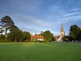 Village Green and Church  Brockham  Surrey Hills  Surrey  England  United Kingdom  Europe