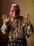 Buddhist Monk Wearing Carved Wooden Mask Waiting for the Next Dance During Gangtey Tsechu at Gangte
