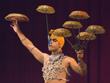 Man Performing the Raban Dance and Balancing Drums in a Tourist Show at the Kandyan Arts Associatio