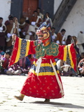 Buddhist Monks Performing Masked Dance During the Gangtey Tsechu at Gangte Goemba  Gangte  Phobjikh
