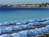 Beach Umbrellas Viewed from the Promenade Des Anglais  Nice  Alpes Maritimes  Provence  Cote D'Azur