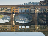 Ponte Vecchio Reflected in the River Arno  Florence  UNESCO World Heritage Site  Tuscany  Italy  Eu