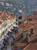Stradun  Orlando Tower and Rooftops from Dubrovnik Old Town Walls  UNESCO World Heritage Site  Dubr