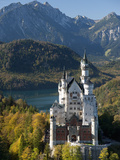 Romantic Neuschwanstein Castle and German Alps During Autumn  Southern Part of Romantic Road  Bavar