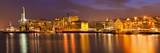 Arctic City of Tromso  Harbour  Port and Waterfront Warehouses  Panorama at Night  Tromso  Troms  N
