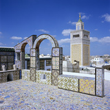 View over City and Great Mosque from Tiled Roof Top  Tunis  Tunisia  North Africa  Africa