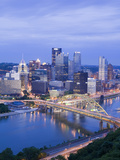 Pittsburgh Skyline and Fort Pitt Bridge over the Monongahela River  Pittsburgh  Pennsylvania  Unite