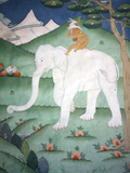 Painting of the Four Harmonious Friends in Buddhism  Elephant  Monkey  Rabbit and Partridge  Inside