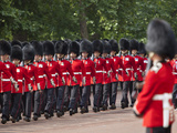Scots Guards Marching Along the Mall  Trooping the Colour  London  England  United Kingdom  Europe