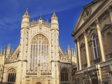 Bath Abbey and Roman Baths  Bath  UNESCO World Heritage Site  Somerset  England  United Kingdom  Eu