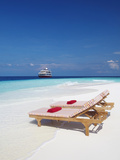 Lounge Chairs on Beach and Yacht  Maldives  Indian Ocean  Asia