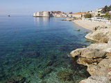 View of Old Town Dubrovnik with Rocky Coast  Dubrovnik  Croatia  Europe