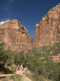 Hiking in to the Emerald Pools  Zion National Park  Utah  United States of America  North America