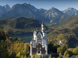 Romantic Neuschwanstein Castle and German Alps in Autumn  Southern Part of Romantic Road  Bavaria  