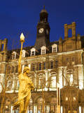 Statue of Morn and Old Post Office in City Square at Dusk  Leeds  West Yorkshire  Yorkshire  Englan