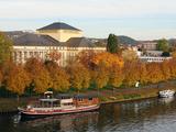River Saar and Saarland State Theatre  Saarbrucken  Saarland  Germany  Europe