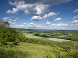 Summer View East Along the Surrey Hills  from White Down  Dorking in the Distance  North Downs  Sur