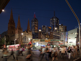 St Paul's Cathedral and Federation Square at Night  Melbourne  Victoria  Australia  Pacific