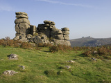 A Rock Outcrop on Hound Tor with Haytor Rocks on the Skyline  Dartmoor National Park  Devon  Englan