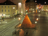 Pyramid and the Market Square at Night  Karlsruhe  Baden-Wurttemberg  Germany  Europe