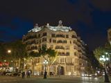 Casa Mila (La Pedrera)  by Antoni Gaudi at Dusk  Passeig De Gracia  Barcelona  Catalonia  Spain  Eu