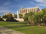 View from Parc De La Mar to the Almudaina Palace and Cathedral  Palma De Mallorca  Mallorca  Balear