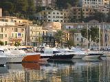 View across the Harbour at Sunrise Port De Soller  Mallorca  Balearic Islands  Spain  Mediterranean