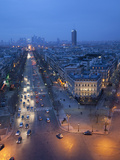 Avenue De La Grande Armee at Night with La Defense in the Distance from the Arc De Triomphe  Paris 