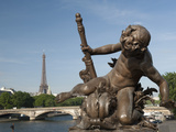 Statue on the Alexandre Iii Bridge  River Seine and the Eiffel Tower  Paris  France  Europe