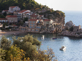 Houses  Harbour and Beach at Przno on the Adriatic Coast  Montenegro  Europe