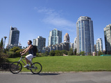 Cyclist Passing Apartment Blocks  False Creek  Vancouver  British Columbia  Canada  North America