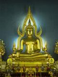 Statue of the Sitting Buddha  Wat Benchamabophit (Marble Temple)  Bangkok  Thailand  Southeast Asia