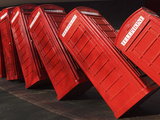 British Red K2 Telephone Boxes  David Mach&#39;s Out of Order Sculpture  at Kingston-Upon-Thames  a Sub