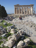 Tourists at the Parthenon on the Acropolis  UNESCO World Heritage Site  Athens  Greece  Europe