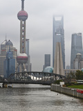 Suzhou Creek and the Waibaidu Bridge with View Towards the Pudong Skyline  Shanghai  China  Asia