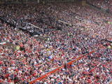 Crowds at English Premiership Football Match Between Manchester United and Fulham  Old Trafford  Ma