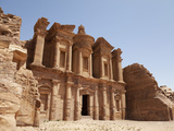 The Facade of the Monastery Carved into the Red Rock at Petra  UNESCO World Heritage Site  Jordan