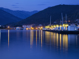 Waterfront at Dusk at the Newly Developed Marina in Porto Montenegro with Mountains Behind  Montene