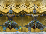 Statues of Demons on the Golden Chedi  Wat Phra Kaeo Complex (Grand Palace Complex)  Bangkok  Thail